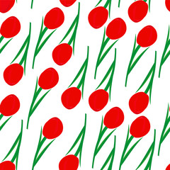 Seamless background of red tulips