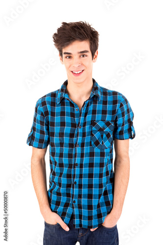 Studio picture of a young and handsome man posing