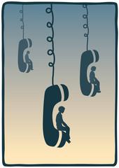 seduto sul telefono