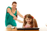 girl with internet dependence playing with keyboard being dragge