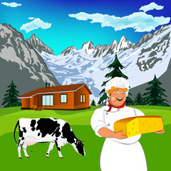 Funny Chef and Natural  dairy cheese with alps mountains meadow