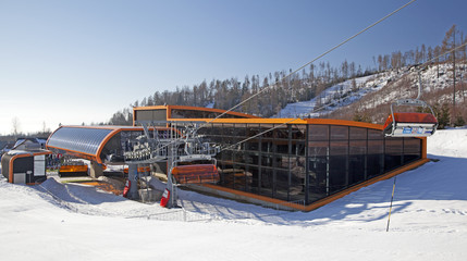 Orange cableway in Tatranska Lomnica - High Tatras, Slovakia