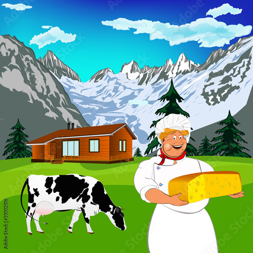 Foto op Canvas Boerderij Funny Chef and Natural dairy cheese with alps mountains meadow