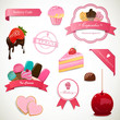 Vector Illustration of Dekorative Dessert Labels and Elements
