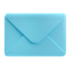 3D render of blue envelope icon on isolated white background