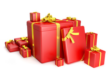 3D of red gift boxes with yellow ribbons over white background