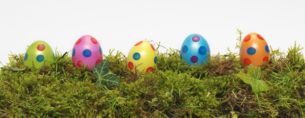Panorama banner of Easter Eggs