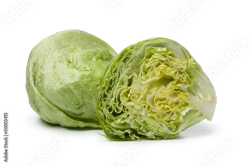 Whole and half Iceberg lettuce