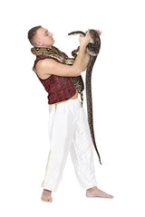 Young Caucasian man with snakes