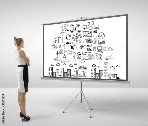 woman looking at flipchart