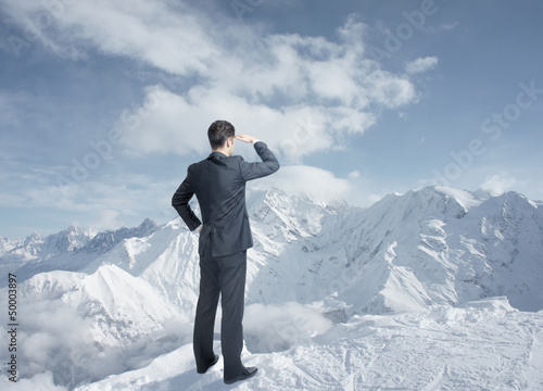 businessman looking to winter mountains