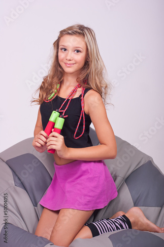 Girl with skipping rope