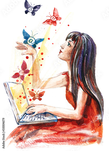girl with laptop