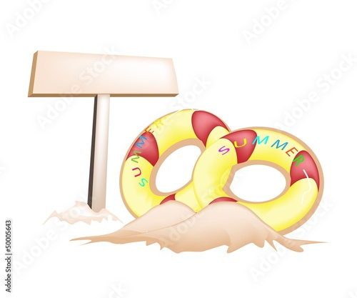 Illustration of Inflatable Ring and Wooden Placard