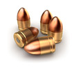 Pack of pistol ammo catridges with bullets. Concept.