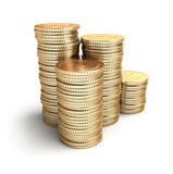 Golden coins in piles.