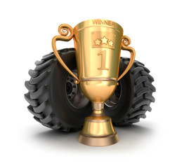 4x4 golden trophy cup with tires.