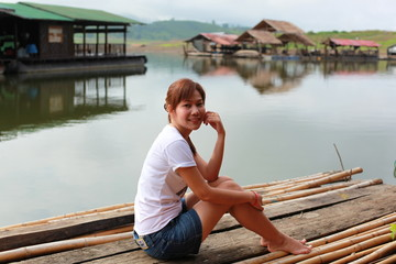 lady and Sangkhaburi Province in Thailand