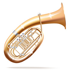 Classical Wagner tuba, isolated in white background