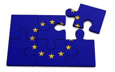 European Union flag puzzle, 3d