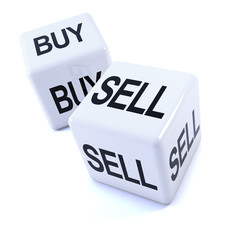 "Two white dice with ""Buy"" and ""Sell"" markings"