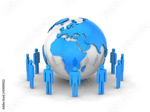 Global Communications. White background