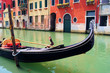 Gondola close up in the canals of Venice, Italy