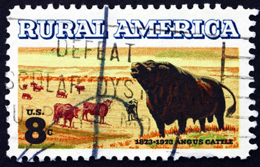Postage stamp USA 1973 Angus and Longhorn Cattle
