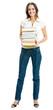 Full body of young happy woman with textbooks