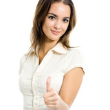 Businesswoman showing thumbs up gesture, isolated