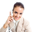 Businesswoman with phone, isolated