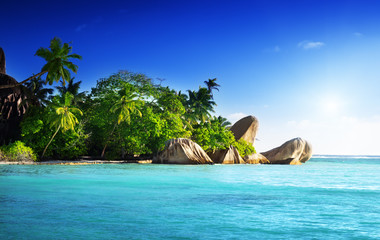 sunset on the beach, Anse Source d'Argent, La Digue island, Seys