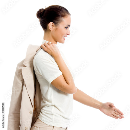 Business woman giving hand for handshake, isolated