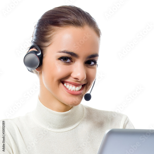 Customer support phone operator with laptop, isolated