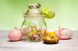 easter little eggs inside vintage glass jar
