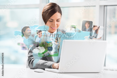 Business woman surfing on web with modern laptop