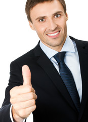 Businessman with thumbs up gesture, isolated