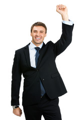 Happy businessman , isolated