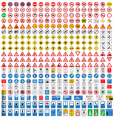 Over 350 different vector Traffic-Road Sign Collection.