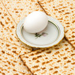 Background with matzo and egg on plate