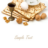 Matzo, egg, walnuts and wine for passover celebration