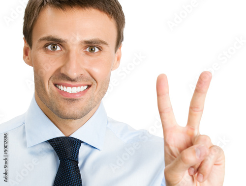 Businessman showing two fingers or victory sign