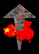 Chinese yuan arrow and map flag illustration