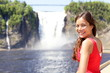 Quebec chute Montmorency falls and woman tourist
