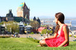 Quebec City with Chateau Frontenac and woman