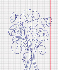 Kidstyle flower sketch on the paper sheet