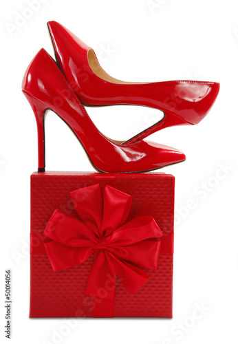Red high heels pump shoes on gift
