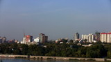 Time lapse View of Novosibirsk, the right bank of the Ob River