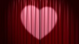 Opening and closing curtain with heart, 3d animation