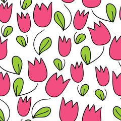 Seamless pattern with cute tulips